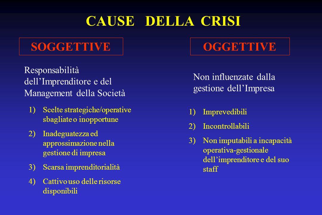 CAUSE DELLA CRISI SOGGETTIVE OGGETTIVE