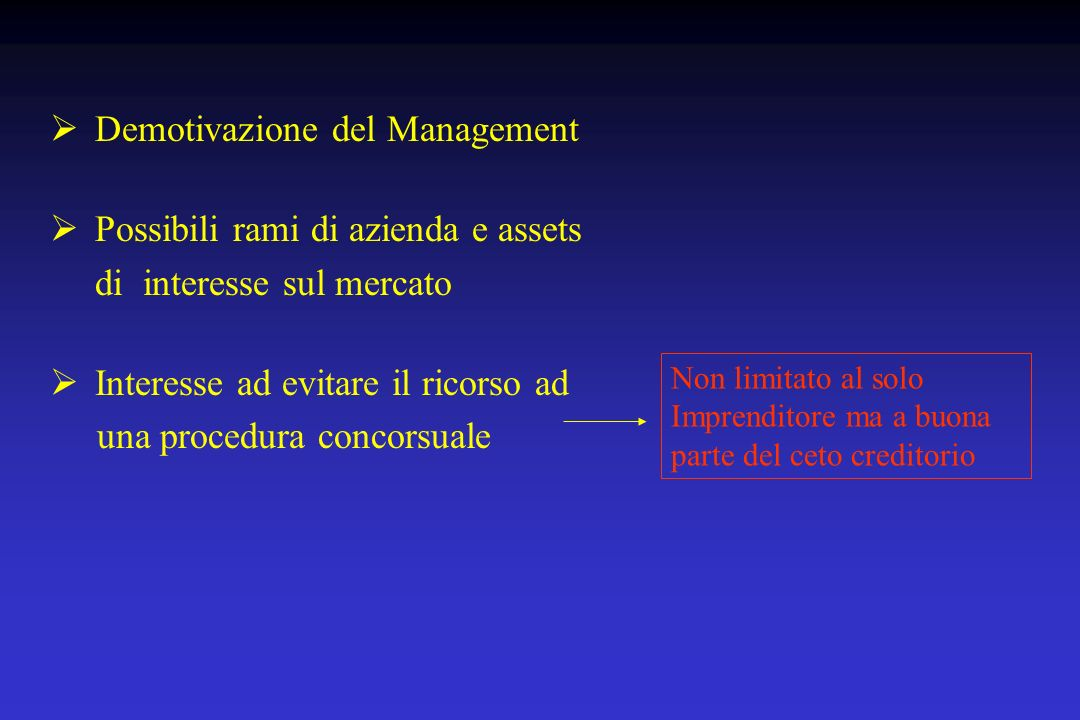 Demotivazione del Management Possibili rami di azienda e assets