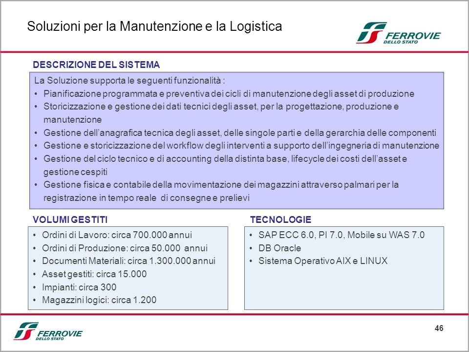 Soluzioni per la Manutenzione e la Logistica