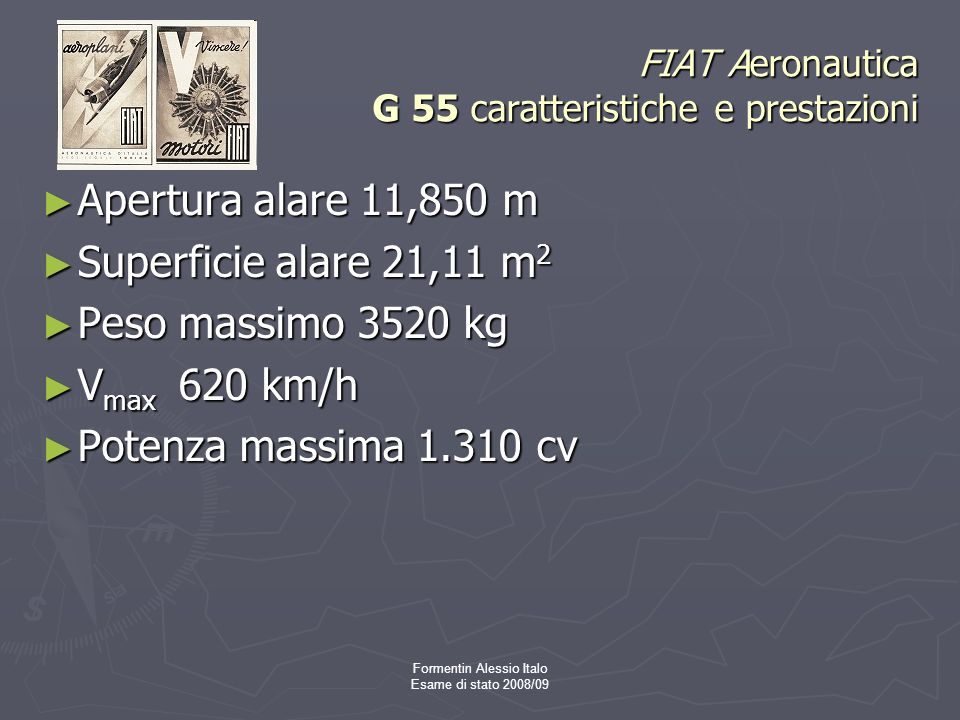 FIAT Aeronautica G 55 caratteristiche e prestazioni