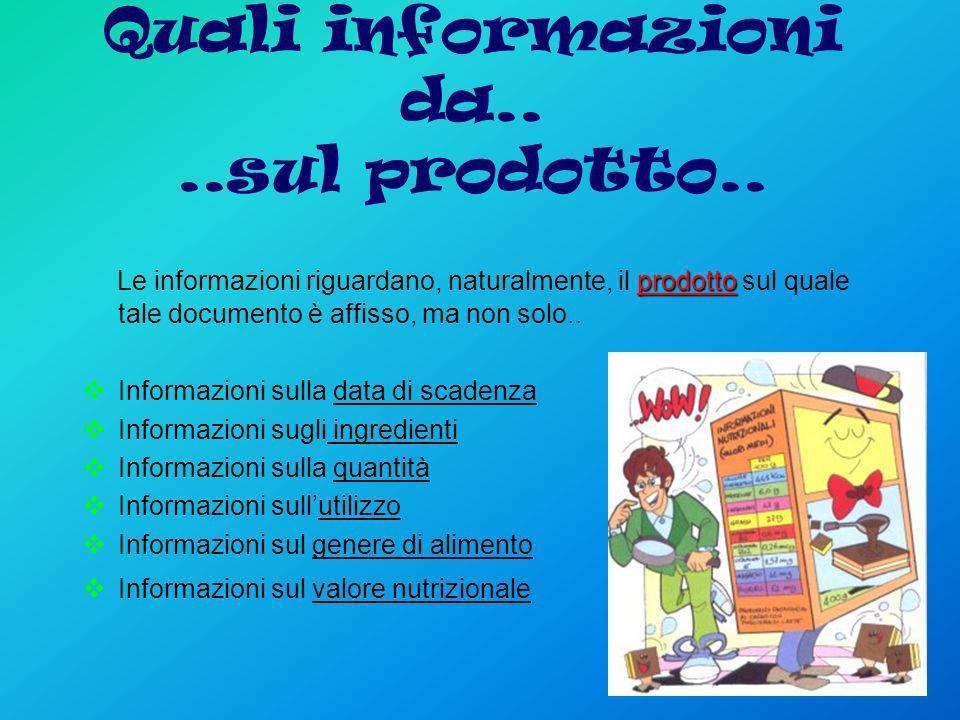 Quali informazioni da.. ..sul prodotto..