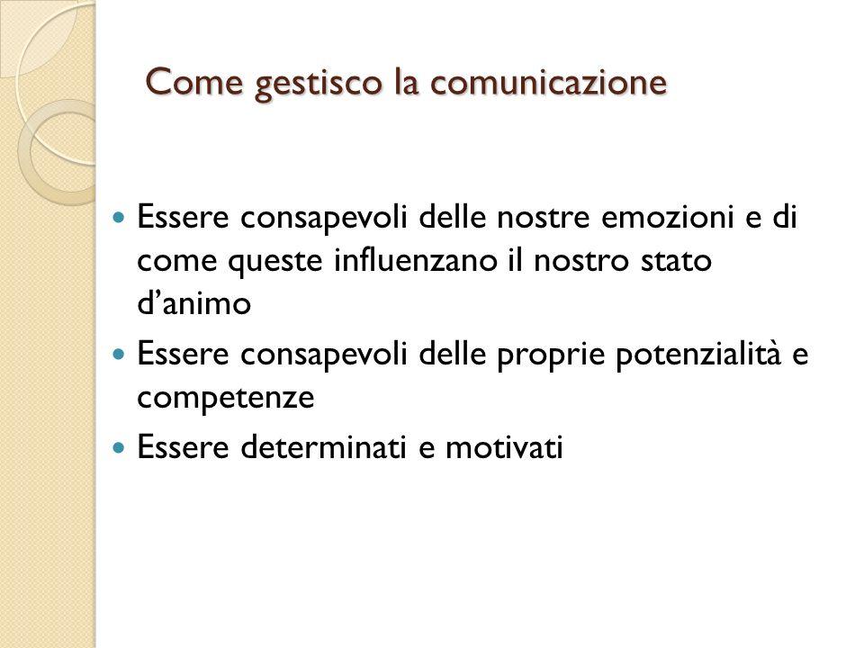 Come gestisco la comunicazione