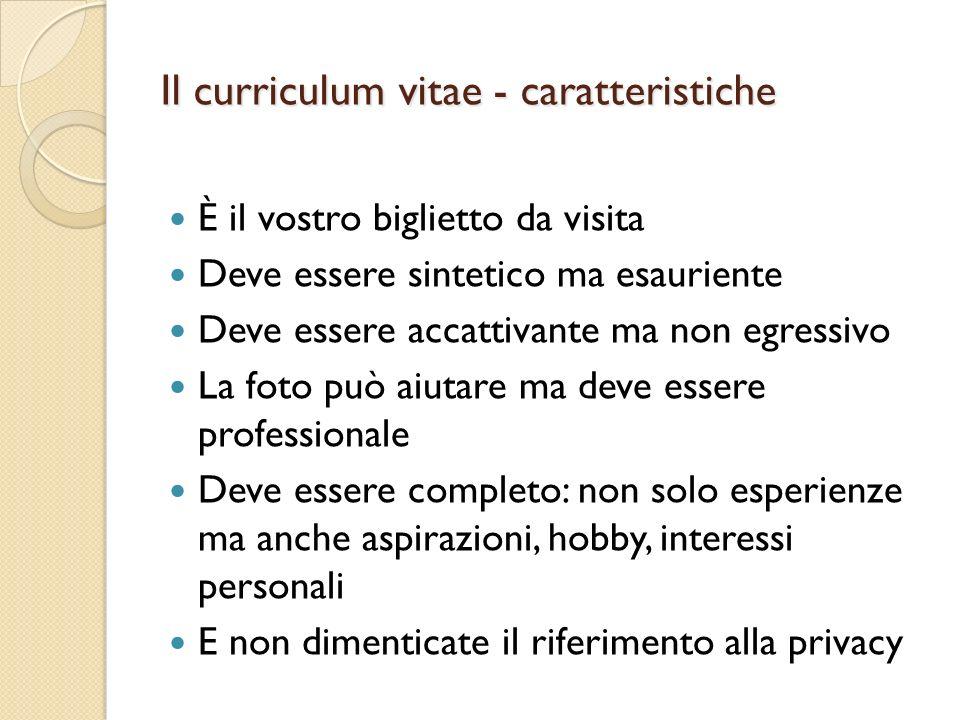 Il curriculum vitae - caratteristiche