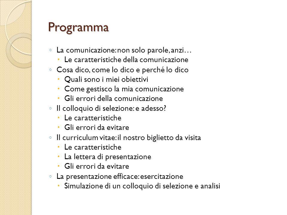 Programma La comunicazione: non solo parole, anzi…