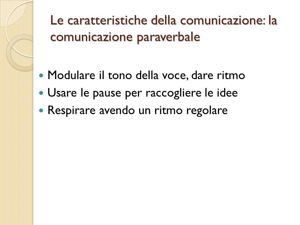 Le caratteristiche della comunicazione: la comunicazione paraverbale