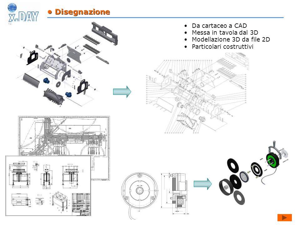 • Disegnazione Da cartaceo a CAD. Messa in tavola dal 3D.