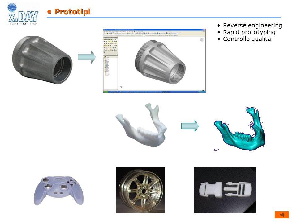 • Prototipi Reverse engineering Rapid prototyping Controllo qualità