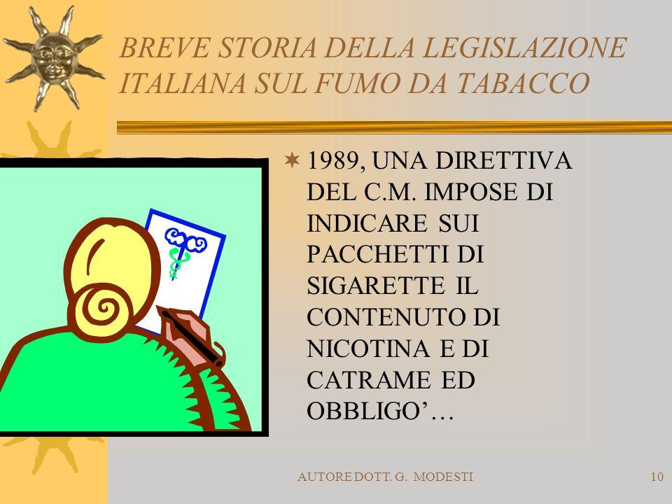 BREVE STORIA DELLA LEGISLAZIONE ITALIANA SUL FUMO DA TABACCO