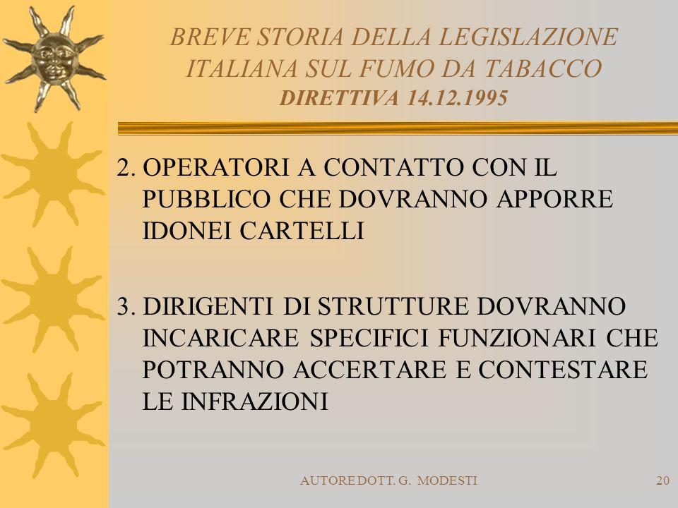 BREVE STORIA DELLA LEGISLAZIONE ITALIANA SUL FUMO DA TABACCO DIRETTIVA 14.12.1995