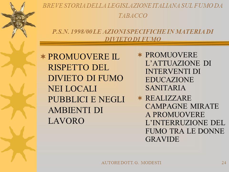BREVE STORIA DELLA LEGISLAZIONE ITALIANA SUL FUMO DA TABACCO P. S. N