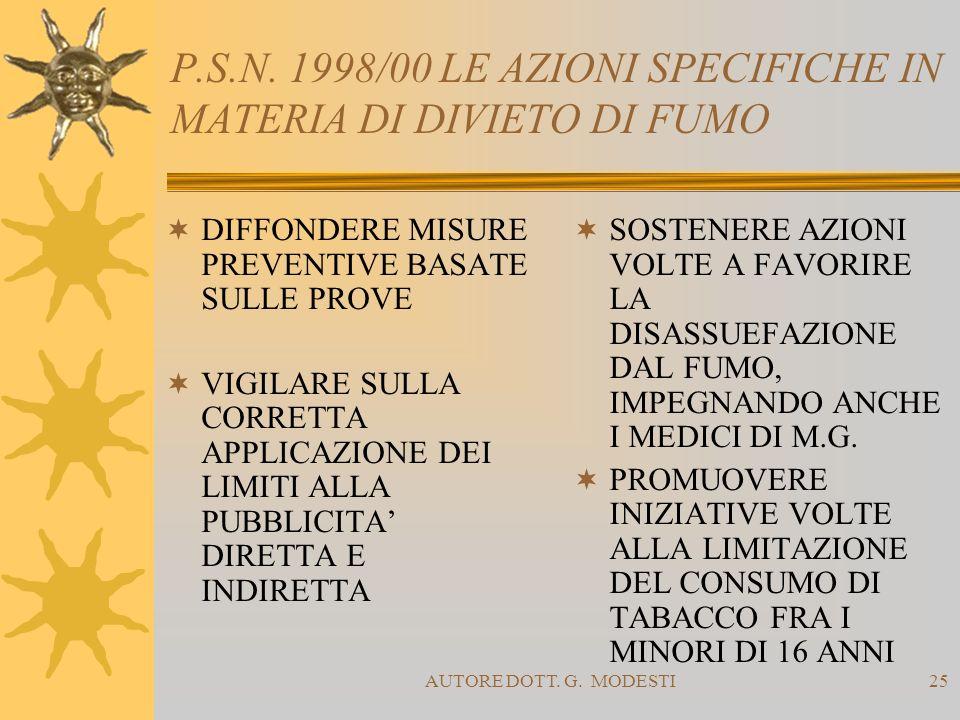 P.S.N. 1998/00 LE AZIONI SPECIFICHE IN MATERIA DI DIVIETO DI FUMO
