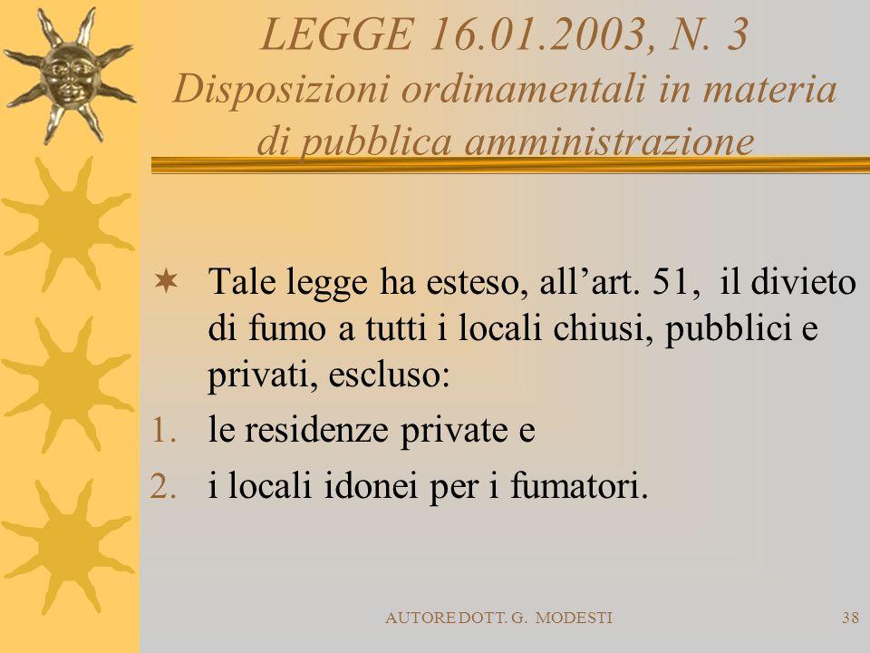 LEGGE 16.01.2003, N. 3 Disposizioni ordinamentali in materia di pubblica amministrazione