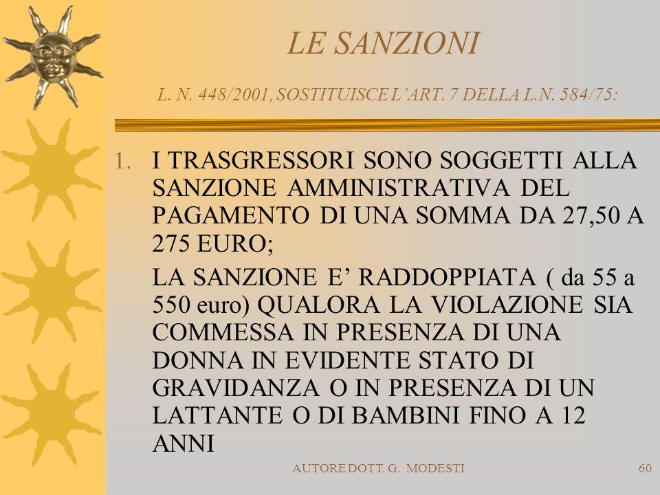 LE SANZIONI L. N. 448/2001, SOSTITUISCE L'ART. 7 DELLA L.N. 584/75: