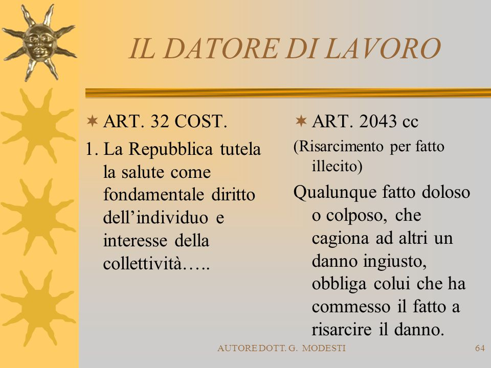IL DATORE DI LAVORO ART. 32 COST.