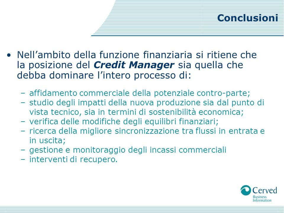 Conclusioni Nell'ambito della funzione finanziaria si ritiene che la posizione del Credit Manager sia quella che debba dominare l'intero processo di: