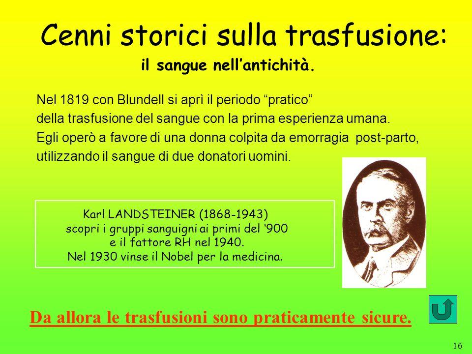 Cenni storici sulla trasfusione: