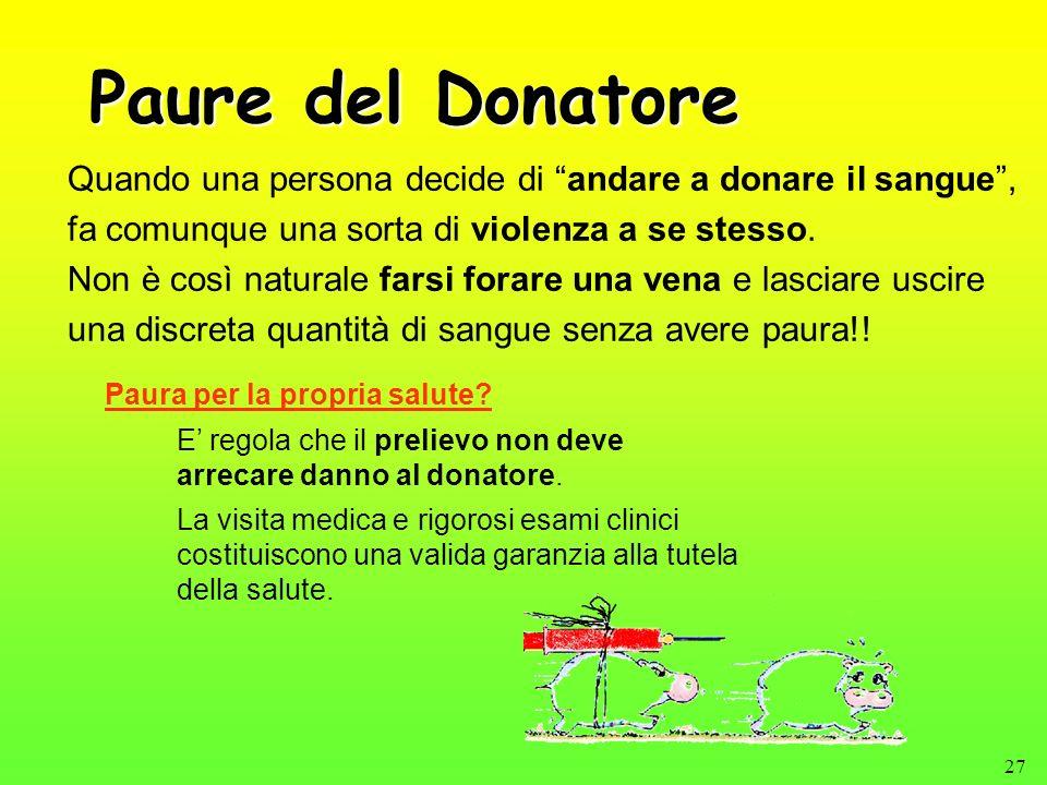 Paure del Donatore Quando una persona decide di andare a donare il sangue , fa comunque una sorta di violenza a se stesso.
