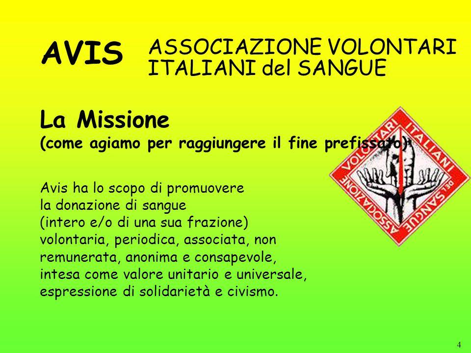 AVIS La Missione ASSOCIAZIONE VOLONTARI ITALIANI del SANGUE