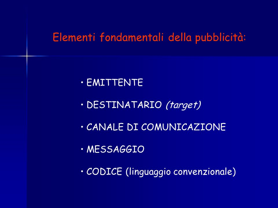 Elementi fondamentali della pubblicità: