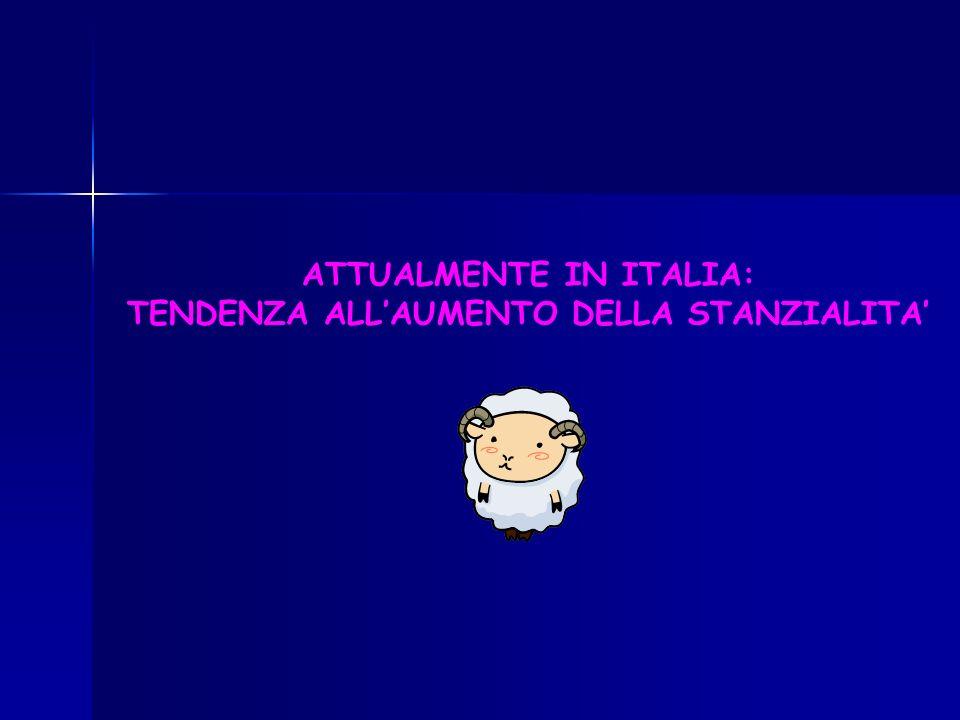ATTUALMENTE IN ITALIA: TENDENZA ALL'AUMENTO DELLA STANZIALITA'