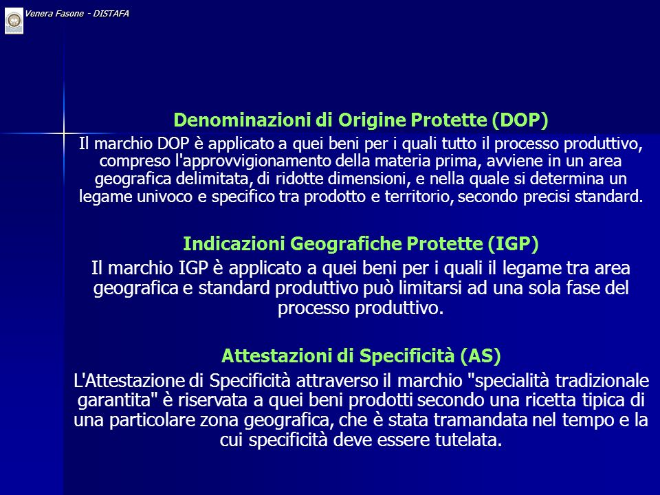 Denominazioni di Origine Protette (DOP)