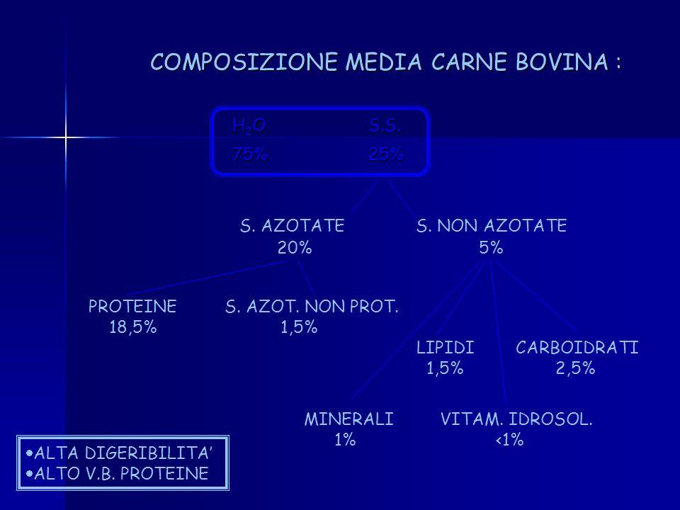 COMPOSIZIONE MEDIA CARNE BOVINA :