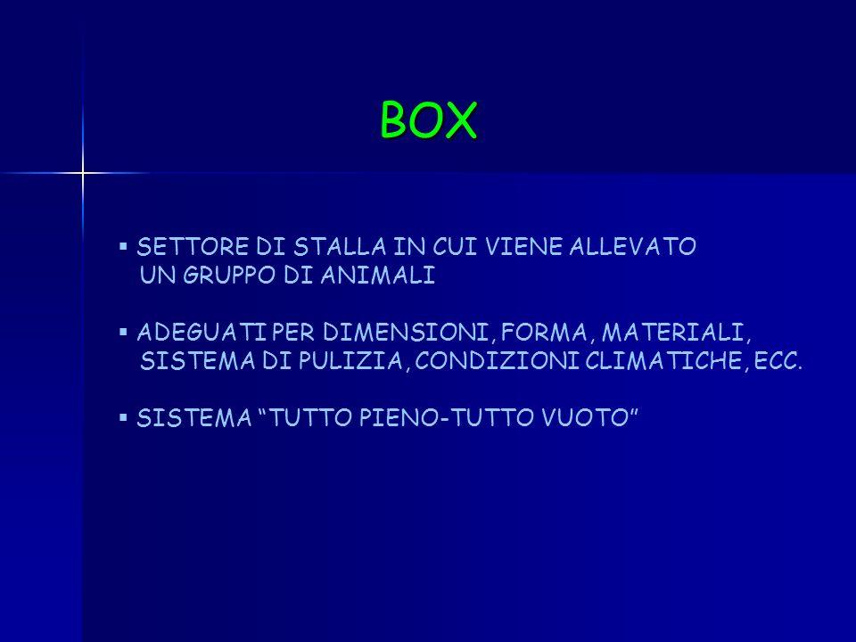 BOX SETTORE DI STALLA IN CUI VIENE ALLEVATO UN GRUPPO DI ANIMALI
