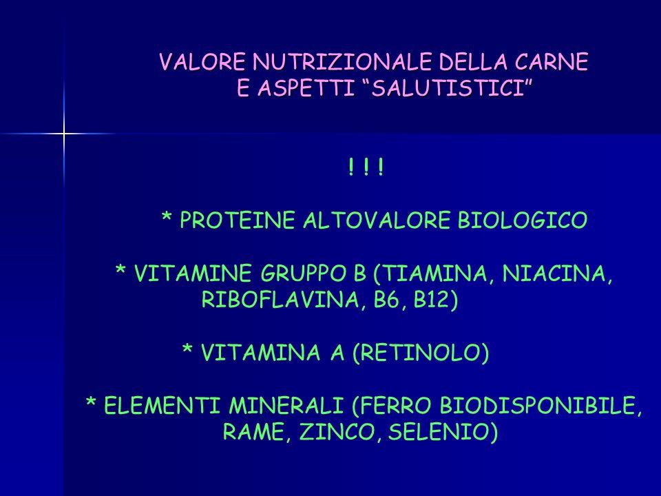 VALORE NUTRIZIONALE DELLA CARNE E ASPETTI SALUTISTICI