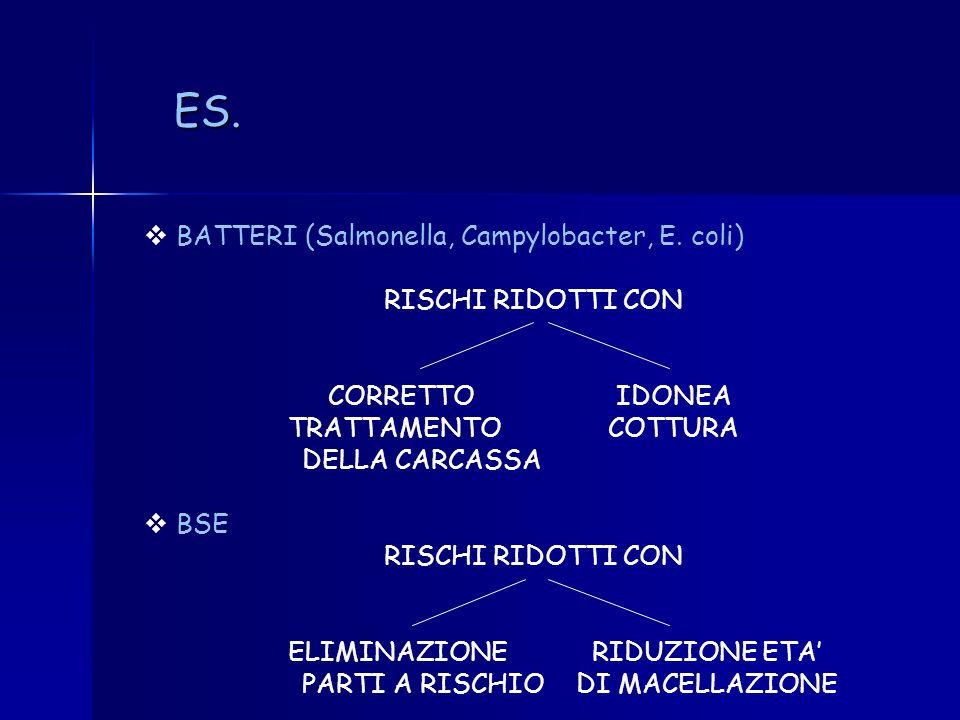 ES. BATTERI (Salmonella, Campylobacter, E. coli) RISCHI RIDOTTI CON