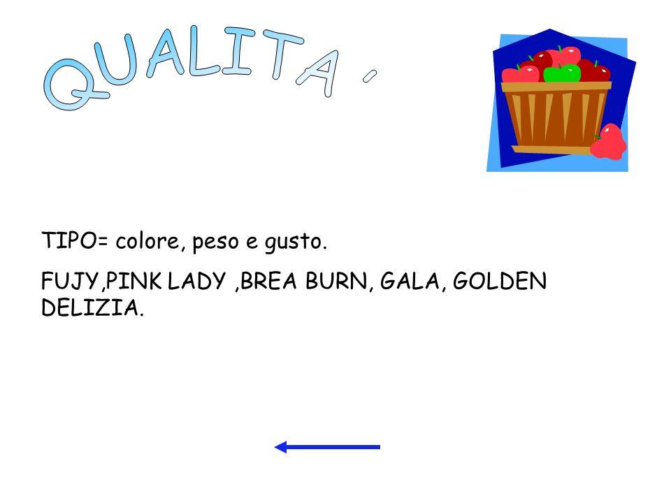 QUALITA TIPO= colore, peso e gusto.