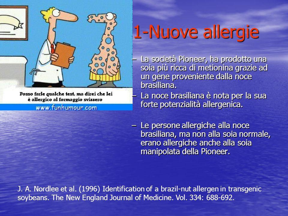 1-Nuove allergie La società Pioneer, ha prodotto una soia più ricca di metionina grazie ad un gene proveniente dalla noce brasiliana.