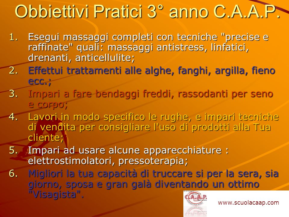 Obbiettivi Pratici 3° anno C.A.A.P.
