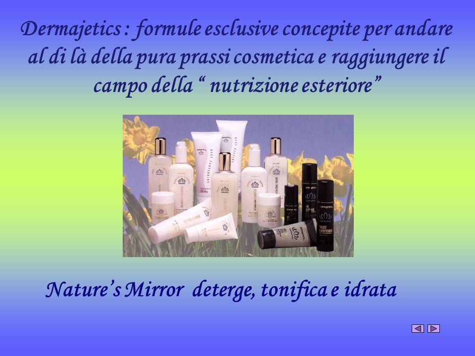 Dermajetics : formule esclusive concepite per andare al di là della pura prassi cosmetica e raggiungere il campo della nutrizione esteriore