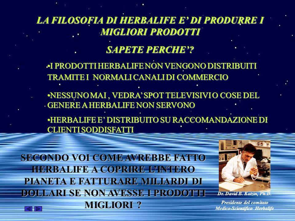 LA FILOSOFIA DI HERBALIFE E' DI PRODURRE I MIGLIORI PRODOTTI