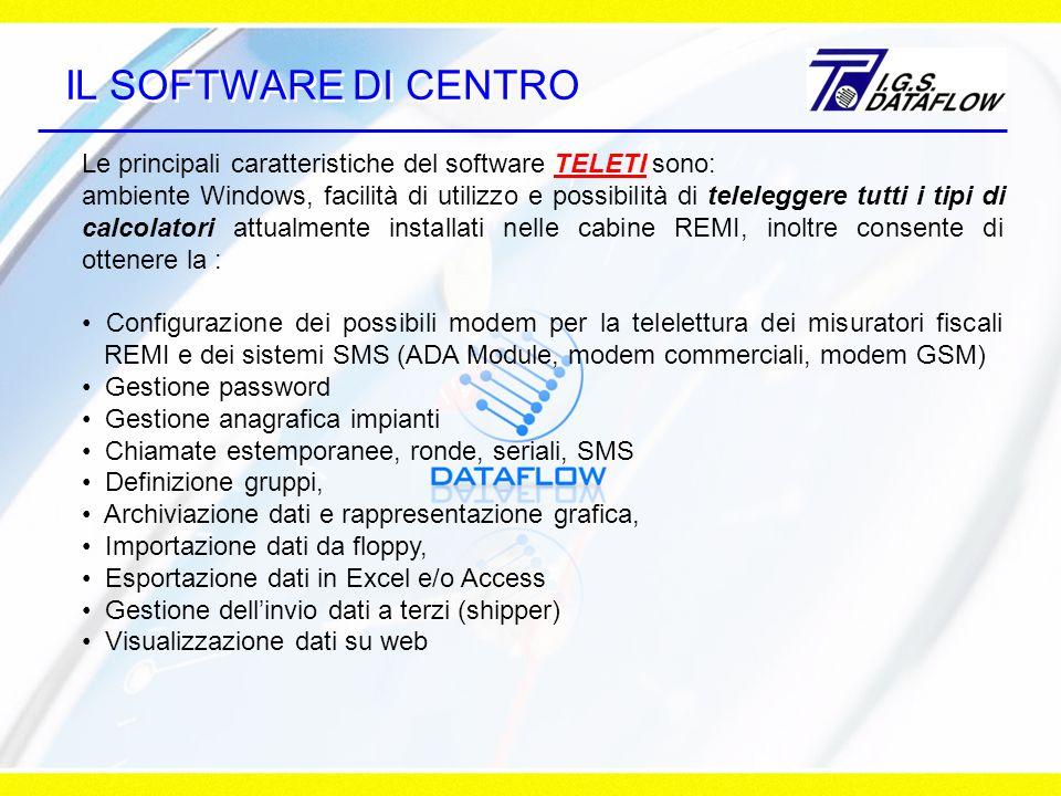 IL SOFTWARE DI CENTRO Le principali caratteristiche del software TELETI sono: