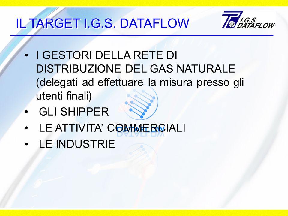 IL TARGET I.G.S. DATAFLOW I GESTORI DELLA RETE DI DISTRIBUZIONE DEL GAS NATURALE (delegati ad effettuare la misura presso gli utenti finali)