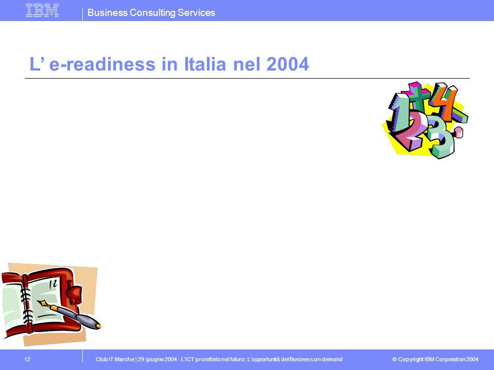 L' e-readiness in Italia nel 2004