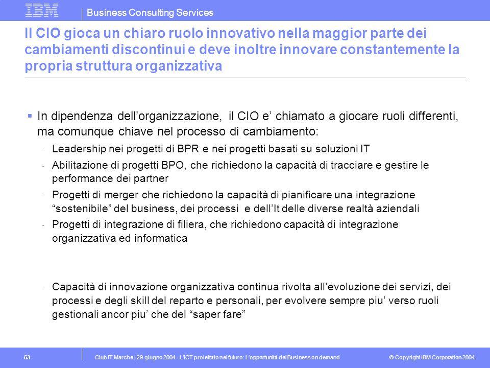 Il CIO gioca un chiaro ruolo innovativo nella maggior parte dei cambiamenti discontinui e deve inoltre innovare constantemente la propria struttura organizzativa