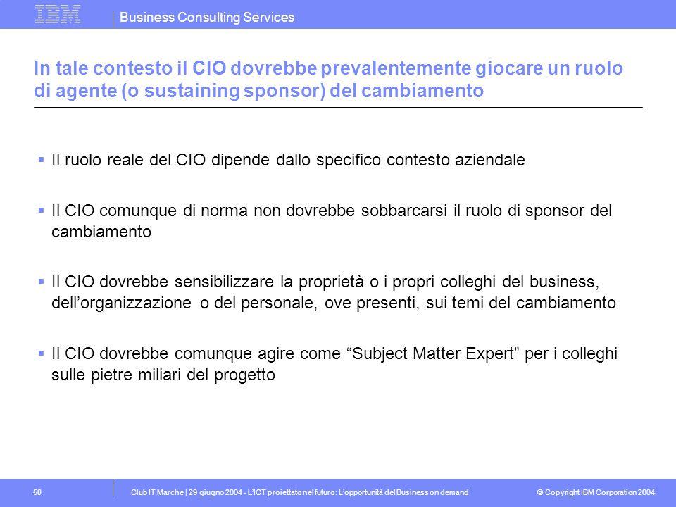 In tale contesto il CIO dovrebbe prevalentemente giocare un ruolo di agente (o sustaining sponsor) del cambiamento