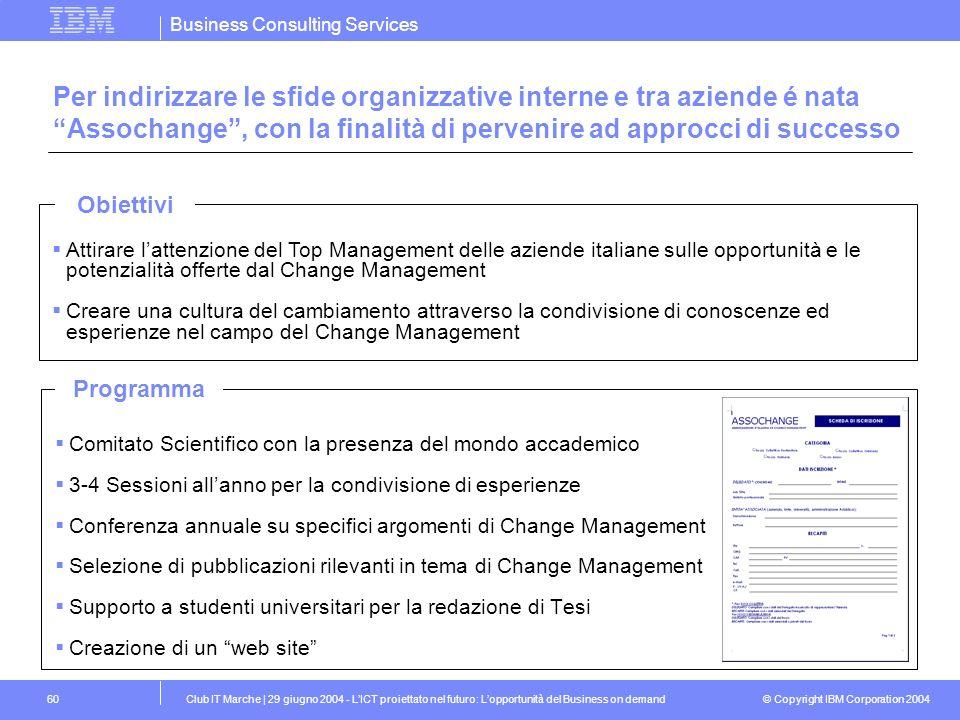Per indirizzare le sfide organizzative interne e tra aziende é nata Assochange , con la finalità di pervenire ad approcci di successo