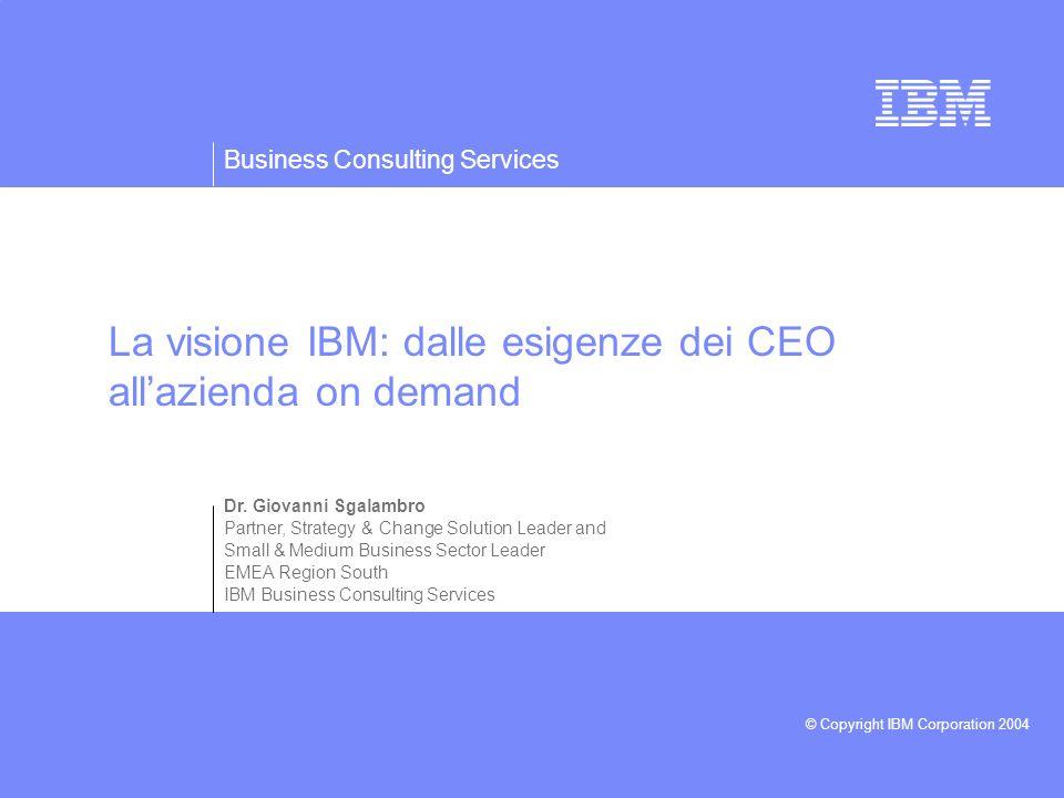 La visione IBM: dalle esigenze dei CEO all'azienda on demand
