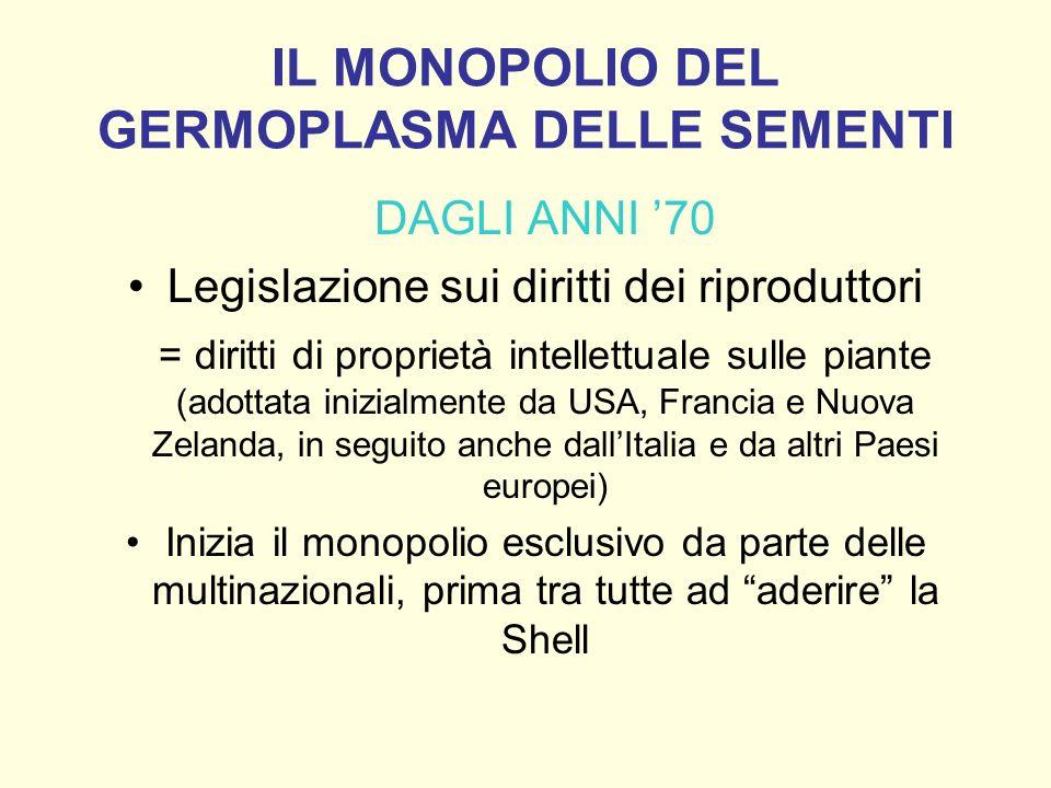 IL MONOPOLIO DEL GERMOPLASMA DELLE SEMENTI