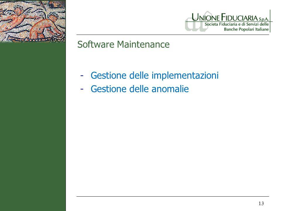 Software Maintenance Gestione delle implementazioni Gestione delle anomalie