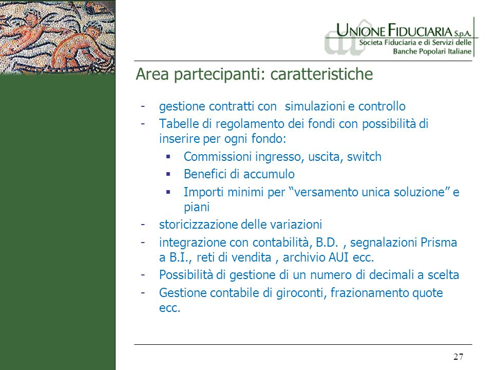 Area partecipanti: caratteristiche