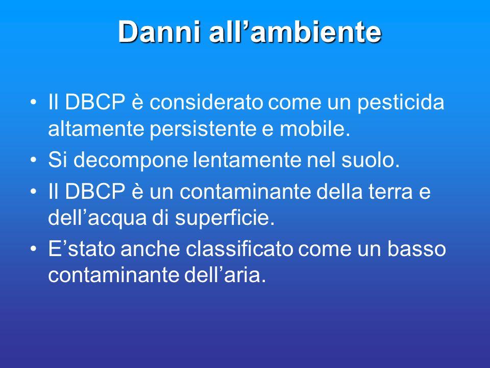 Danni all'ambiente Il DBCP è considerato come un pesticida altamente persistente e mobile. Si decompone lentamente nel suolo.