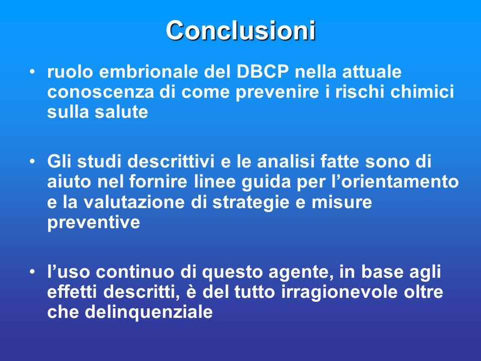 Conclusioni ruolo embrionale del DBCP nella attuale conoscenza di come prevenire i rischi chimici sulla salute.