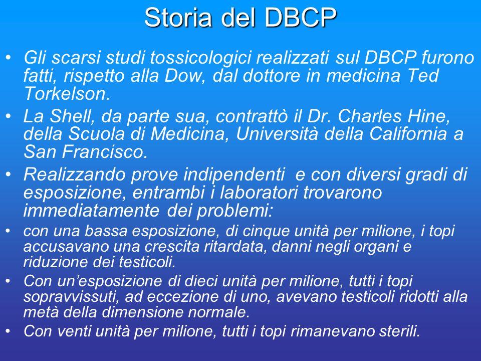 Storia del DBCP Gli scarsi studi tossicologici realizzati sul DBCP furono fatti, rispetto alla Dow, dal dottore in medicina Ted Torkelson.