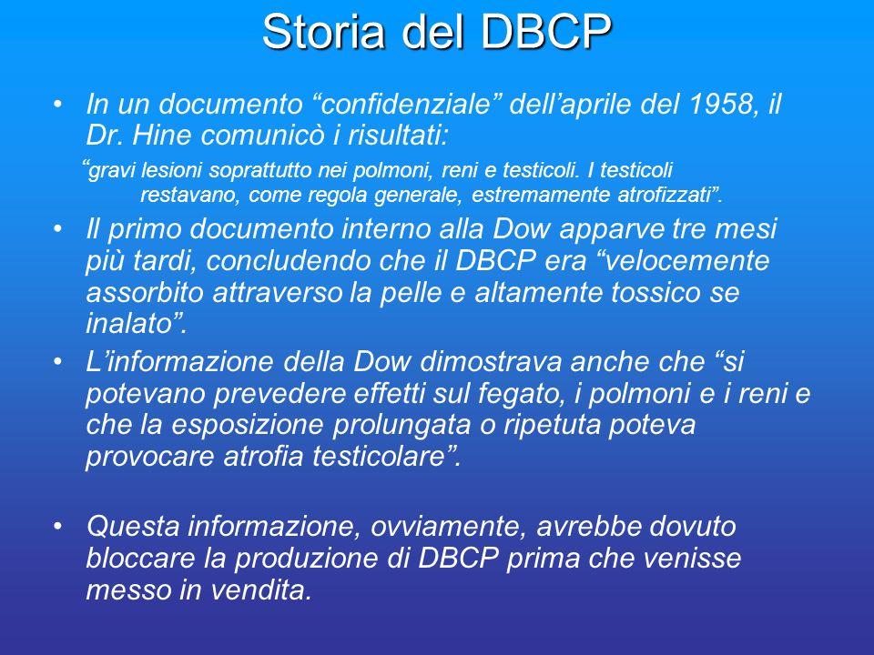 Storia del DBCP In un documento confidenziale dell'aprile del 1958, il Dr. Hine comunicò i risultati: