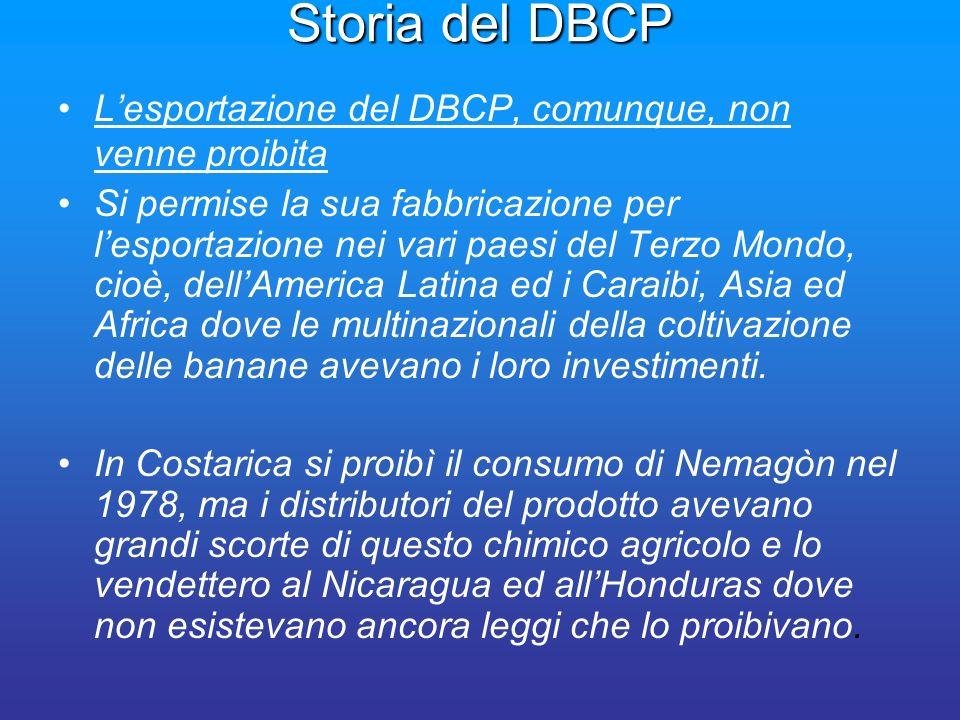 Storia del DBCP L'esportazione del DBCP, comunque, non venne proibita