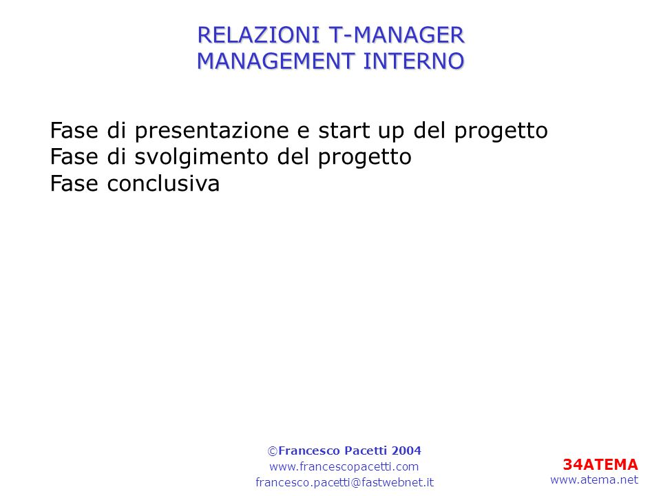 RELAZIONI T-MANAGER MANAGEMENT INTERNO